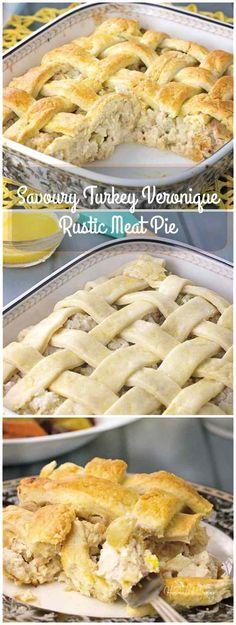 Savoury Turkey Veronique Rustic Meat Pie combines ground turkey, grapes and a white wine cream sauce under a rustic lattice crust.   homemadeandyummy.com
