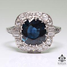 Antique Arte Deco Platinum Diamond & 3.50ctw Sapphire Ring