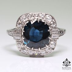 Antique Arte Deco Platinum Diamond & 3.50ctw Sapphire Ring like this style too. Just replace sapphire with a dark opal or a very colourful one