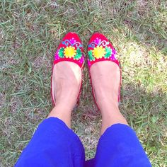 Beautiful Hand embroidered shoes Gorgeous shoes with multi color embroidery from India . No size tag but it's equivalent to Us size 8.5. NWOT.  Please ask any Q before buying . Shoes Flats & Loafers