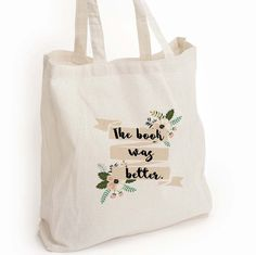 """Book lover gift """"The book was better"""" Print Eco Tote Bag - This listing is for a 14inx13inx2in eco cotton tote bag printed with an unique design made by me. This tote is perfect for that book lover in"""