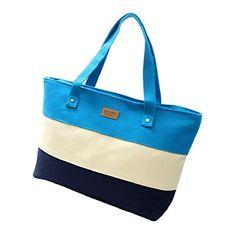 TIFENNY Fashion Women Canvas Colored Stripe Shopping Handbag Shoulder Bag Blue ** More info could be found at the image url. (Note:Amazon affiliate link)