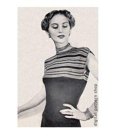 1940s Vintage Knit Blouse Pattern Striped by DigitalPatternShop, $3.25