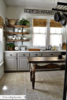 Kitchen Inspiration - At Home With The Barkers. GRAY CABINETS, WHITE COUNTERTOPS, BLACK PULLS