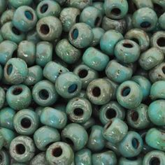 Seed Beads-6/0 Round-4514 Opaque Turquoise Blue Picasso-Miyuki-16 Grams