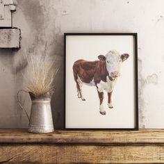 A3 Hereford Cow Print: from original painting by Sabrina Rew. This beauitful print will look perfect in any countryside home. Hereford Cows, Cow Print, A3, Countryside, Original Paintings, Greeting Cards, Hand Painted, Pets