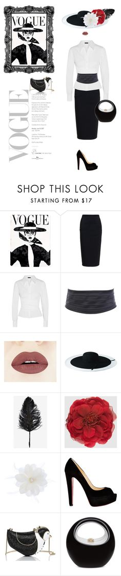 """So Vogue"" by kim-mcculley ❤ liked on Polyvore featuring Rick Owens, Donna Karan, San Diego Hat Co., Gucci, Accessorize, Christian Louboutin, Kate Spade, women's clothing, women's fashion and women"