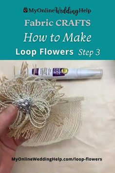 How to make loop flowers. This fabric craft is amazing for farmhouse decor or country wedding flowers. Make with burlap or strips of fabrics. The flowers are folded, glued, and rolled into shape. See the entire DIY on the MyOnlineWeddingHelp.com blog.