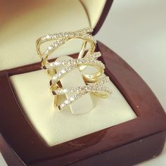 Triple decker women's gold cocktail ring Cocktail Rings, Angel, Gold, Women, Angels, Yellow