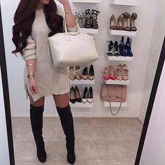 Fall & winter outfit - Knit dress & thigh high boots