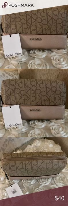 "Calvin Klein gorgeous travel cosmetic bag Calvin Klein Cosmetic Bag  9""x6""x3"" Logo Brown H6GRJ5QE 100% Authentic NEW$58 Style: H6GRJ5QE Color : brown with logo and the bottom part is in a rose gold gorgeous color Calvin Klein Bags Cosmetic Bags & Cases"