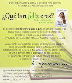 Presentación del libro este próximo 23 de febrero en el Centro Español de NY a las 7pm #Quétanfelizeres