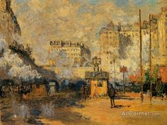 Claude Monet Exterior Of Saint-lazare Station, Sunlight Effect oil painting reproductions for sale