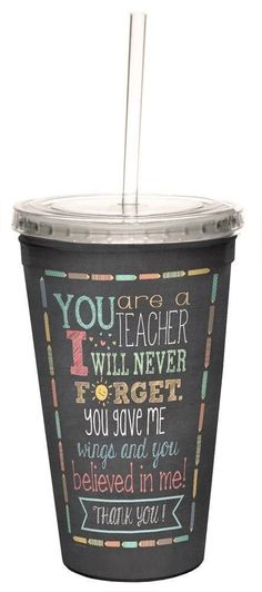 Teacher Thanks Double-Walled Cool Travel Cup with Reusable Straw, 16-Ounce - Teacher Appreciation Week Thank You Gift - Tree-Free Greetings 98218 #teacherappreciationgifts #thankyougifts
