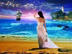 Beau paysage reposant, jeune femme assise sur un rocher regarde partir le bateau, nimbé dans les couleurs mauves et roses du lever du soleil