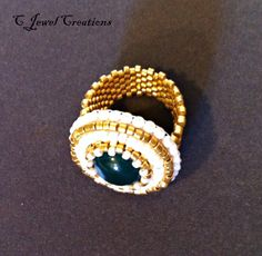 Green Agate Ring, Gold and White Beadwoven Ring, Beadwoven Jewelry, Seed Bead Ring. $25.00, via Etsy.