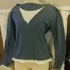 SZ L ONE SHIRT BUT GIVES ILLUSION OF LAYERED 2 Long sleeve nice front faux closure giving the illusion of 2 shirts layered when in reality only one shirt. Shirt is not long, stops at real waistline ver nice! Thanks for visiting my closet! Come again soon! Make me an offer! I love offers! Tops Tees - Long Sleeve