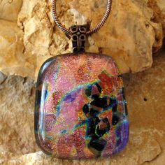 Dichroic Fused Glass Pendant Fused Glass Pendant  by GlassCat, $25.00