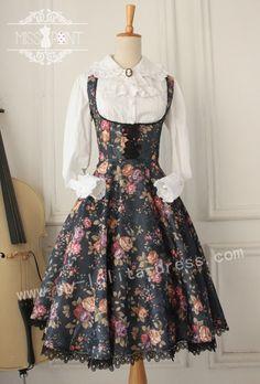 Gothic Vintage Lolita Jumper Dress with Thorn Flower $55.99-Cotton Lolita Dresses - My Lolita Dress