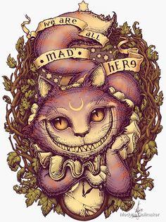 Cheshire Cat Art, Chesire Cat, Cheshire Cat Wallpaper, Cheshire Cat Tattoo, Tattoo Chat, Cat Alice, Alice In Wonderland Drawings, Bild Tattoos, Alice Madness