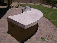 Built in BBQ island with cantera stone tile top in Scottsdale, AZ. - www.lonestaraz.com