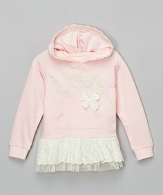 Loving this Pink Lace 'Love' Skirted Hoodie - Infant, Toddler & Girls on #zulily! #zulilyfinds
