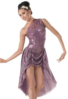 Weissman™ | One-shoulder Draped Mesh Dress Junior Team Ballet - Titanium
