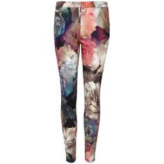 Ted Baker Aniela Technicolour Bloom Leggings, Multi ($150) ❤ liked on Polyvore featuring pants, leggings, bottoms, skinny trousers, super skinny pants, skinny pants, floral leggings and zip pants