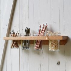 Reclaimed Wood and Jelly Jars - Wall Mounted Caddy by Peg&Awl (great people and great design) Dot And Bo, Jelly Jars, Industrial Chic, Industrial Shelving, Home Organization, Organizing, Getting Organized, Mason Jars, Diy Projects