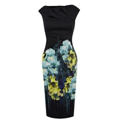 Idreammart Dressy Lady's Polyester Oil Printing Ruffled Knee Length Party Pencil Dress