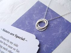 Sisters Necklace -Three Sisters - Sterling Silver Inseparable Rings for 3 Sisters - Note CARD POEM -  Sister  - Friendship - Gift - Modern. $48.50, via Etsy.