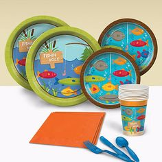 You can cast your pole and relax with our Gone Fishin' Basic Party Pack. This party pack features a fishing scene complete with brightly colored fish.