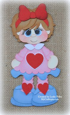 Items similar to Valentines Girl Premade Scrapbooking Embellishment Paper Piecing Die Cuts Card Scrapbook on Etsy Felt Dolls, Paper Dolls, Cute Ginger, Easy Arts And Crafts, Vintage Scrapbook, Bird Cards, Scrapbook Embellishments, Hand Embroidery Designs, Box Design