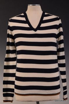 DOLCE & GABBANA Blue Striped Wool V-neck Sweater US M NEW EU 50