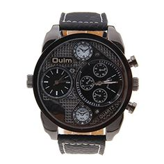 http://ift.tt/1YevfYP Pixnor Oulm 9316 Cool Mens Big Round Dial Dual Time Display Quartz Wrist Watch with PU Band (Black) ! salesviiko@