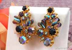 Vtg Black Rhinestone AB Crystal Art Glass Cluster Earrings Clips Signed Triad #Triad #Cluster