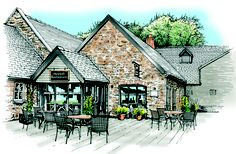The coloured version of the Hayloft Restaurant