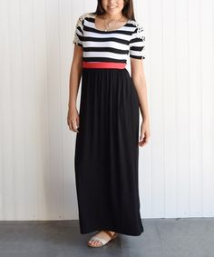 Another great find on #zulily! Black & Coral Stripe Embroidered Maxi Dress - Women by éloges #zulilyfinds