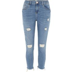 River Island Petite blue rip Alannah relaxed skinny jeans ($84) ❤ liked on Polyvore featuring jeans, blue, skinny jeans, women, blue jeans, denim skinny jeans, distressed skinny jeans and tall skinny jeans