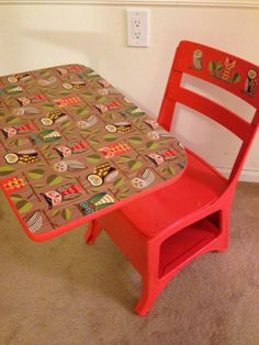 """Vintage school desk, freshly painted (bright orange) and hand decorated. Cutest owl design on work surface and wooden slats. 20"""" w x 28"""" d x 28"""" h, though height is adjustable. 15"""" from floor to seat. See more of my work at: https://www.facebook.com/schoolhousepop"""