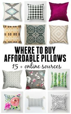 Awesome Where to buy affordable pillows – online sources for decorative pillows on a budget! The post Where to buy affordable pillows – online sources for decorative pillows on a… ap . Cheap Throw Pillows, Cheap Decorative Pillows, Diy Pillows, Couch Pillows, Outdoor Throw Pillows, Affordable Home Decor, Cheap Home Decor, Diy Home Decor, My Living Room