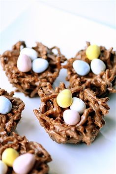 Chocolate butterscotch nests. so cute for Easter! I need to try these. Have made pnut butter nests for years, but these look even tastier!