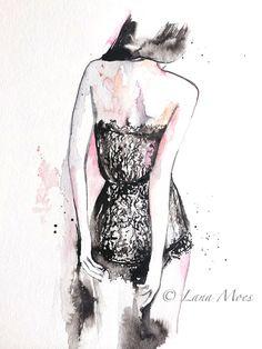 SOLD>Romantic Watercolor Illustration  Fashion Illustration by LanasArt on etsy, #watercolor,