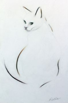ARTFINDER: Dark Eyes by Kellas Campbell - Charlie, my cat, looks to be part Siamese and part Tabby. She is mostly a creamy white colour, though. This graphite, pastel and charcoal pencil drawin...