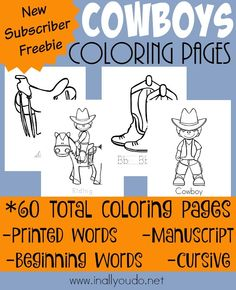 Every Cowboy Cowgirl Will LOVE These Fun Coloring Pages Includes 4 Different Types Of