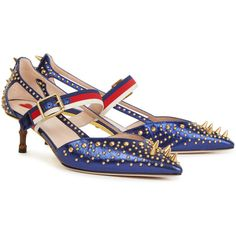 Gucci Metallic blue studded leather pumps (£795) ❤ liked on Polyvore featuring shoes, pumps, striped shoes, pointed toe shoes, mid-heel shoes, gucci pumps and bamboo pumps