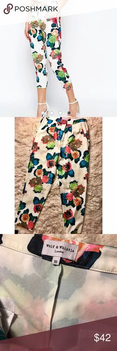 💐SPRING SALE💐ROSE printed pants UK10 Beautiful rose printed trousers bought from ASOS UK 10 US 6 brand is WOLF & WHISTLE... never worn but no tags. price firm ASOS Pants Trousers