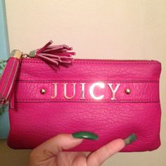 "HP Juicy Wristlet Pink Juicy wristlet with 2 large separate sections & a small zippered compartment in 1.  Holds a lot in convenient wristlet form.  Used but no stains.  Host Pick  ""Girly Girl"" Party on 7/24! Juicy Couture Bags"