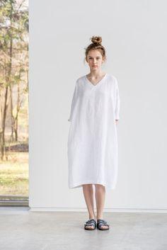Witte linnen tuniek/jurk. Gewassen linnen door notPERFECTLINEN