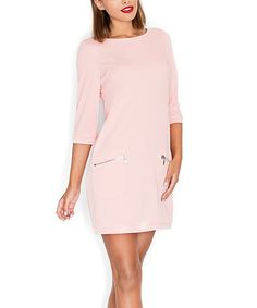 Pink Zip-Pocket Shift Dress